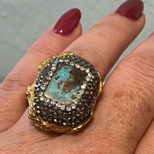 Fashion Turquoise & Gold Ring